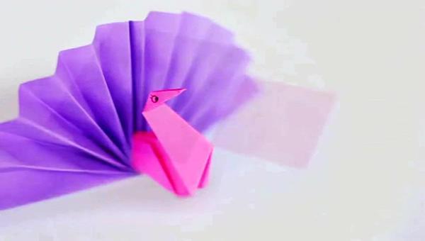 折纸大全---diy手工折纸孔雀