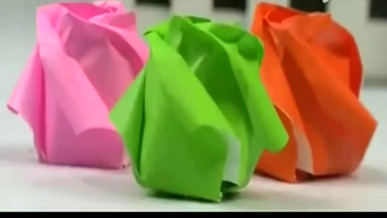 手工制作 折纸教学 玫瑰花简单折法