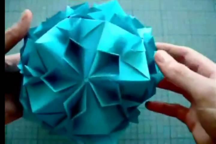 折纸大全视频 樱花盛开花球的折法