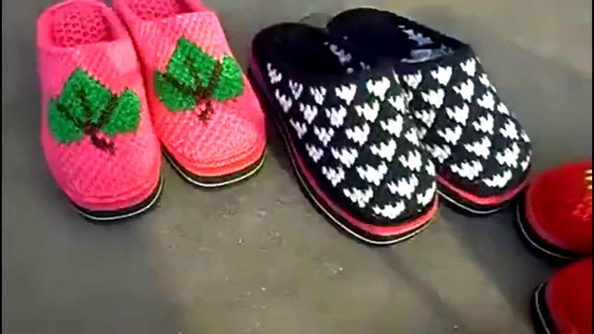 毛线拖鞋手工编织